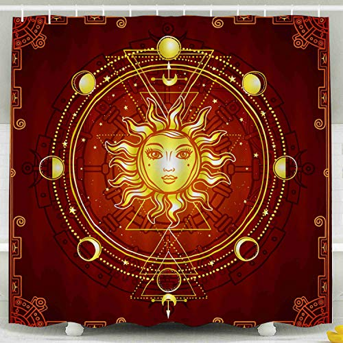 KIOAO Farmhouse Shower Curtain Liner Fabric,Mystical Drawing The Sun Human Face Sacred Geometry Phases Moon Mysticism Red Frame Esoteric 78X72Inch Waterproof Extra Long Shower Curtains,Pink Gray