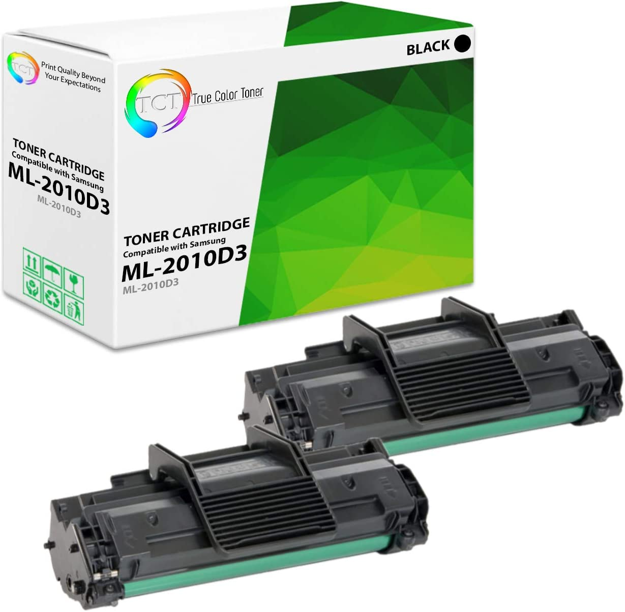 TCT Premium Compatible Toner Cartridge Replacement for Samsung ML-2010D3 Black Works with Samsung ML-2010 ML-2510 ML-2570 ML-2571N, SCX-4521F SCX-4521FG Printers (3,000 Pages) - 2 Pack