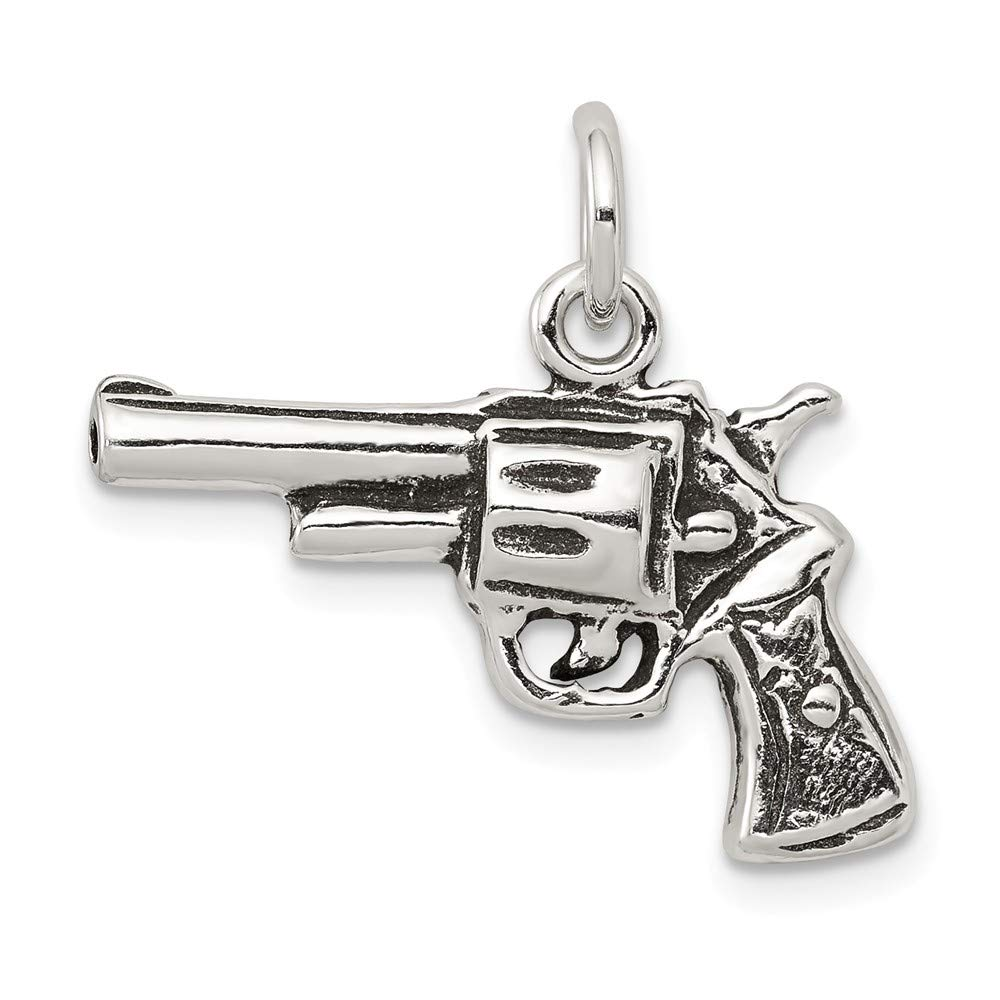 13mm x 25mm Mia Diamonds 925 Sterling Silver Solid Antiqued Pistol Charm