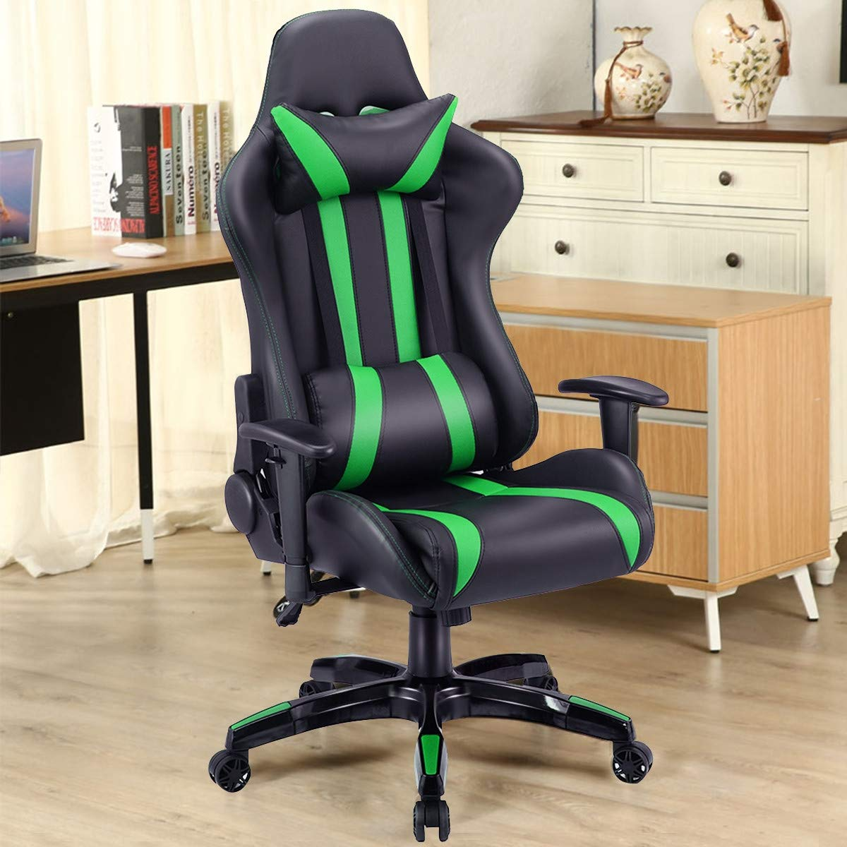 Modern Style Executive High-Back Racing Gaming Chair, Ergonomic, and Adjustable Back, Adjustable Armrest and Seat Height,360-Degree Swivel, PU Leather, Fade-Resistant and Easy to Clean Green by Caraya