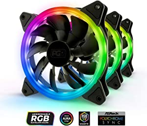 PGR Illuma FK101 – 120mm – Addressable RGB – Single Light Loop – LED RGB PWM – PC Case Fan 3 Pack – Lighting Hub Kit and Controller