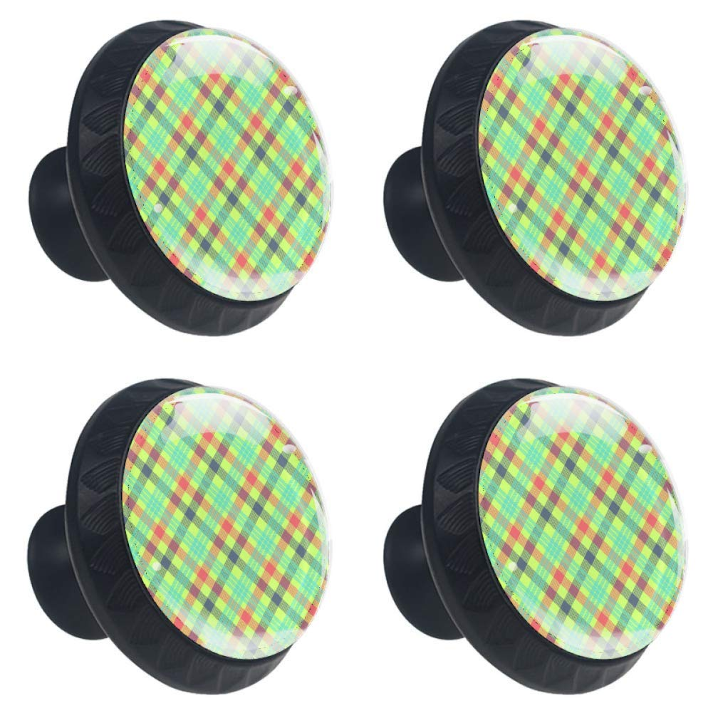 4pcs Drawer Knob Pull Handle Round Furniture Knobs Tartan Multicolor Pattern,Cupboard Cabinet Dresser Wardrobe Knobs with Screws Home Decorate for Office Kitchen