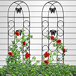 "Amagabeli 60"" x 18"" Rustproof Black Iron Butterfly Garden Trellis for Climbing Plants Potted Vines Vegetables Flowers Patio Metal Wire Lattices Grid Panels for Ivy Roses Cucumbers Clematis Pots 2 Pack"
