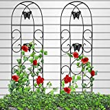 Amagabeli 60' x 18' Rustproof Black Iron Butterfly Garden Trellis for Climbing Plants Potted Vines Vegetables Flowers Patio Metal Wire Lattices Grid Panels for Ivy Roses Cucumbers Clematis Pots 2 Pack