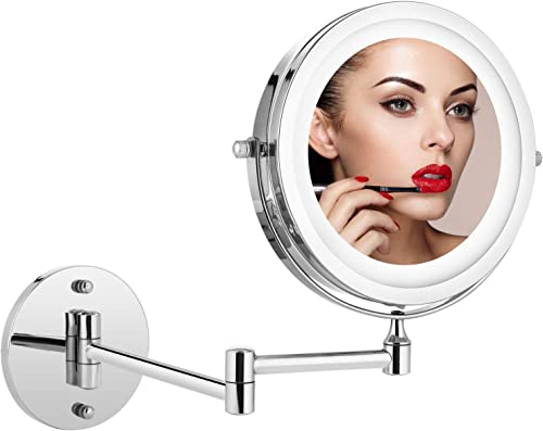 Jukert Wall Mount Makeup Mirror Lighted – 5X Magnification Mirror 7-inch Bathroom Mirror Folding Vanity Mirror led Wall Mirror Cosmetic Closeup Mirror Personal Vanity Mirror Bedroom