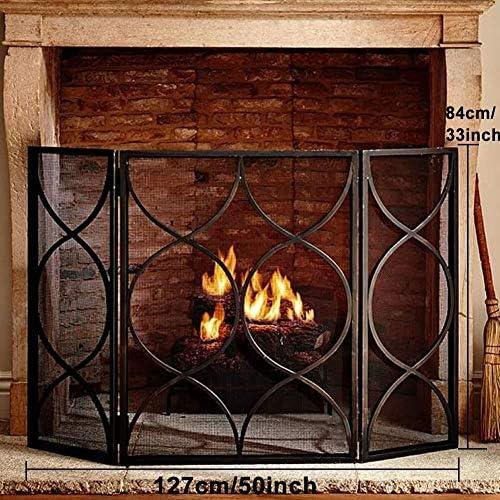 ブラックメタルメッシュカバー、オープン火災/ガス火災/ログイン木材バーナーのためのベビー安全火災画面スパークガード付き3-パネル錬鉄の暖炉スクリーン