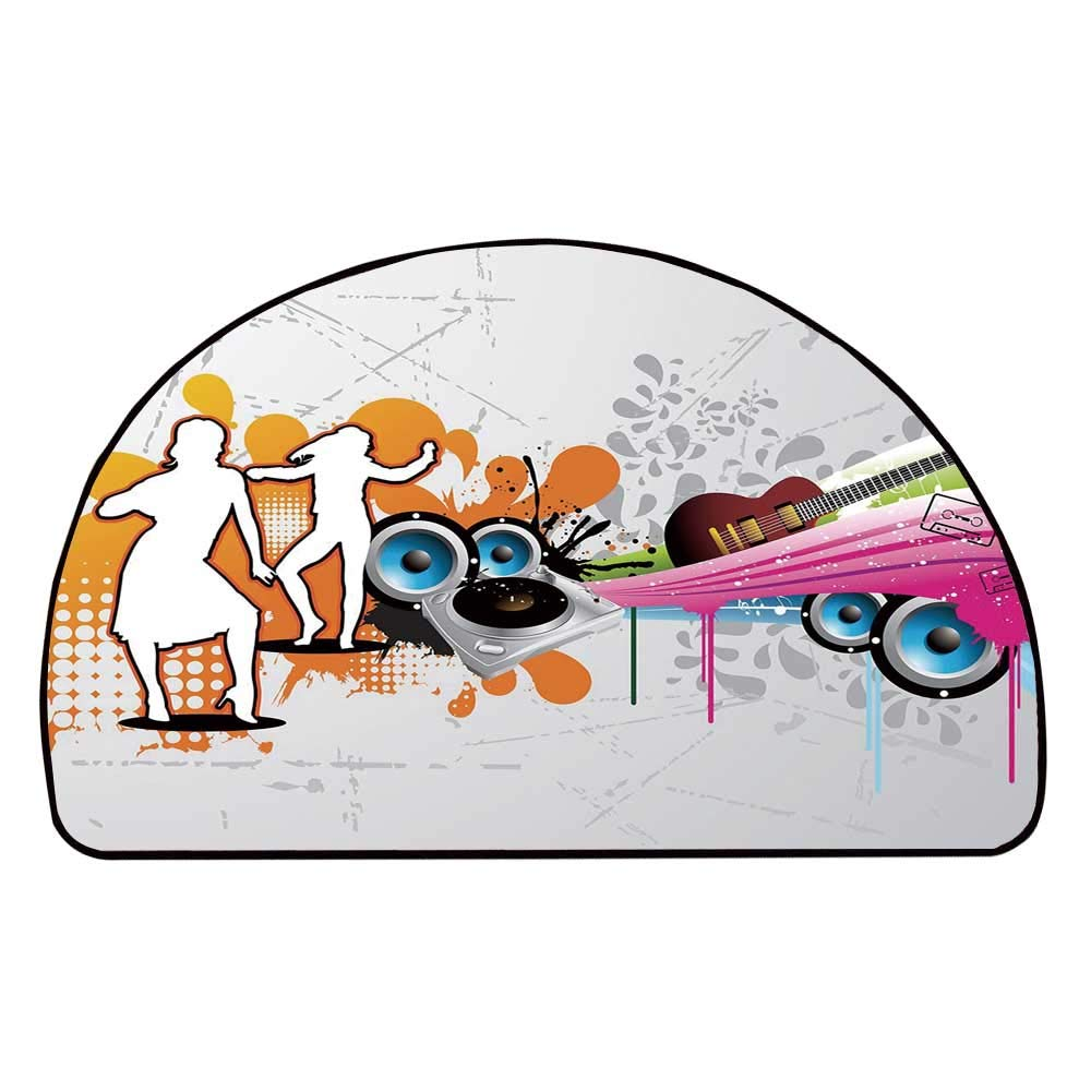 C COABALLA Grunge Comfortable Semicircle Mat,Music People with Turntable and Speakers Dancing Funky Urban Nights Guitar Print for Living Room,11.8'' H x 23.6'' L
