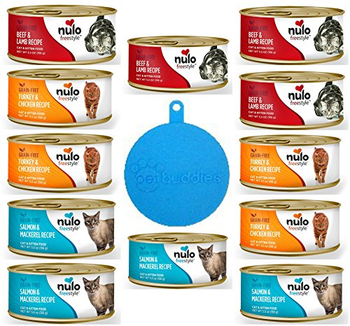 Nulo Grain Free Cat & Kitten Food Pate in 3 Flavors: Beef & Lamb, Salmon & Mackerel, and Turkey & Chicken - 12 Cans Total, 5.5 Oz Each - Plus Silicone Pet Food Cover - 13 Items Total