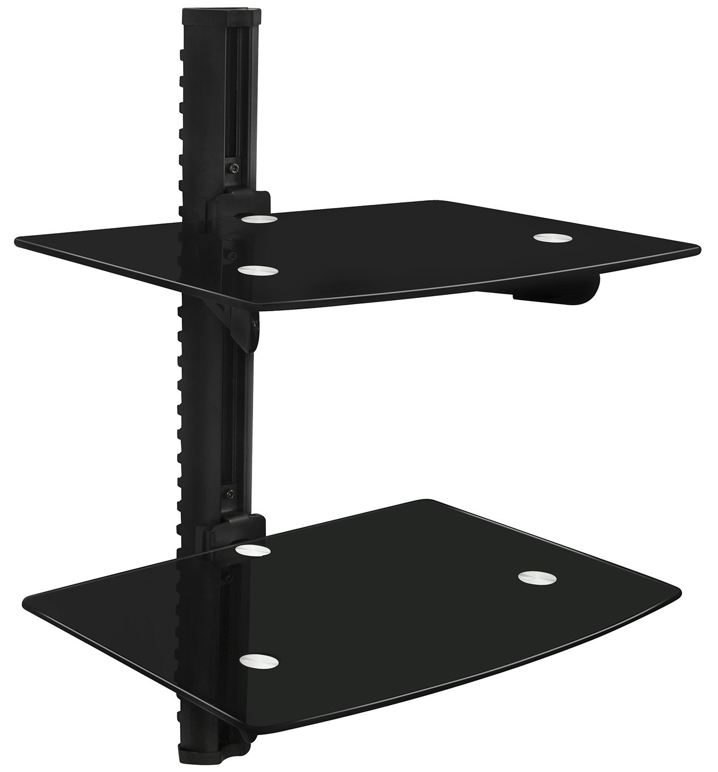 Mount-It! MI-817 Floating Wall Mounted Shelf Bracket Stand for AV Receiver, Component, Cable Box, Playstation4, Xbox1, VCR Player, Blue Ray DVD Player, Projector, Load Capacity 44 lbs, Two Shelves, Tinted Tempered Glass