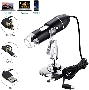 1600X Digital Microscope USB Endoscope Camera 8 LED Mini Digital Microscope Compatible With Mac Window 7 8 10 Android Linux
