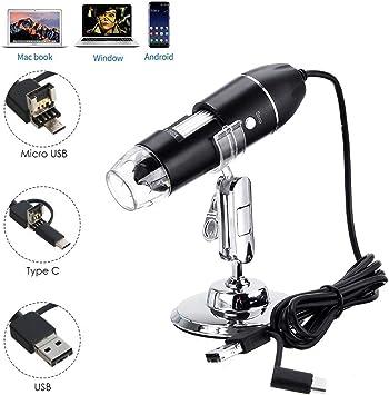 Android y Mac Microscopio USB Microscopio digital USB de alta potencia 1600x C/ámara de microscopio 3 en 1 PCB con 8 luces LED y soporte para microscopio para ni/ños Compatible con Windows