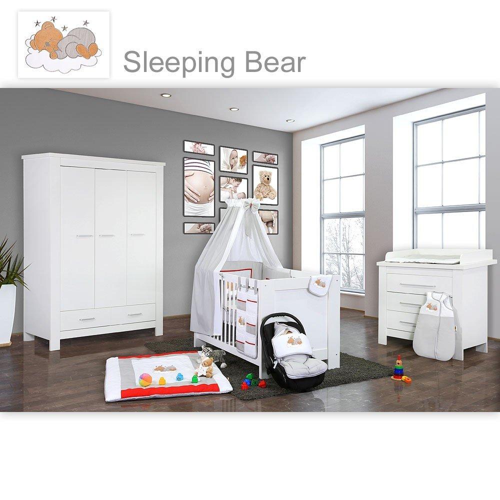 Babyzimmer Enni in weiss 10 tlg. mit 3 türigem Kl. + Textilien von Sleeping Bear, Grau