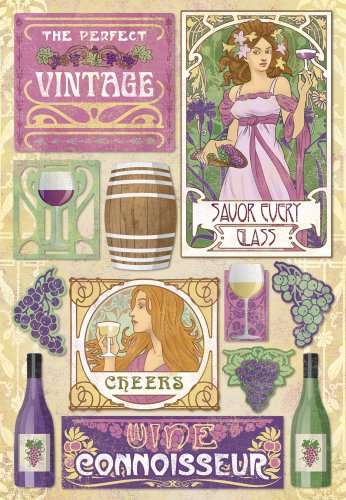 Vineyard Photo Albums - KAREN FOSTER Design Acid and Lignin Free Scrapbooking Sticker Sheet, The Perfect Vintage