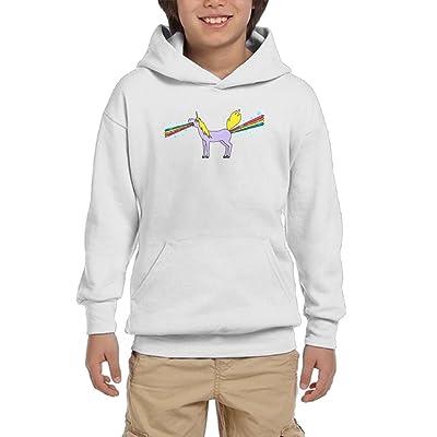 ROSSERJR Pullover vomit Shit Unicorn Boys,Girls,Youth Hipster Sweatshirt Pocket Hoodie L White