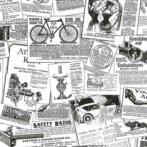 Antique Newsprint in Black and White - BK32083 by Norwall B007936R08