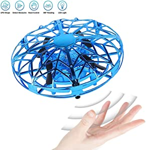 JCT UFO Flying Ball Toys Mini Drone for 4-10 Years Kids Hand Controlled Flying Toys, Infrared Induction Helicopter Ball with360° Rotating and LED Lights for Children Boys Girls Kids Gifts (Blue)
