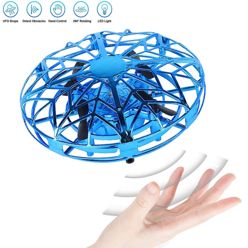 JCT UFO Flying Ball Toys Mini Drone for 4-10 Years Kids Hand Controlled Flying Toys, Infrared Induction Helicopter Ball with360° Rotating and LED Lights for Children Boys Girls Kids Gifts (Blue) by JCT