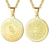 PROSTEEL Praying Hands Pendant & Necklace, 316L Stainless Steel/18K Gold Plated (Send Gift Box,Velvet)