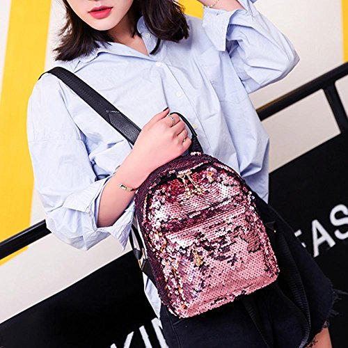 Leather Small Travel Girl Pink Sequins Backpack Shoulder bag Fashion Schoolbag Shining Women WcIP68qf