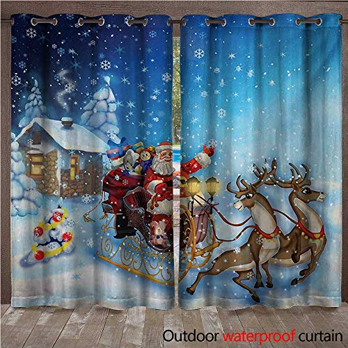 s Outdoor Blackout Curtain Santa in Sleigh with Reindeer and Toys in Snowy North Pole Tale Fantasy ImageW108 x L96 Navy Blue ()