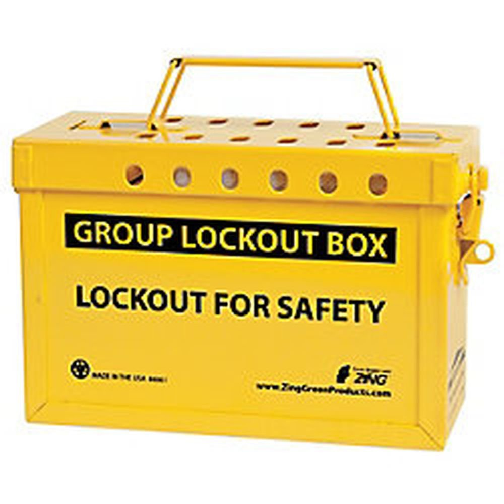 ZING 6061 RecycLockout Group Lockout Box, 10'' Length x 4'' Width x 6'' Height, Recycled Stainless Steel, Black on Yellow
