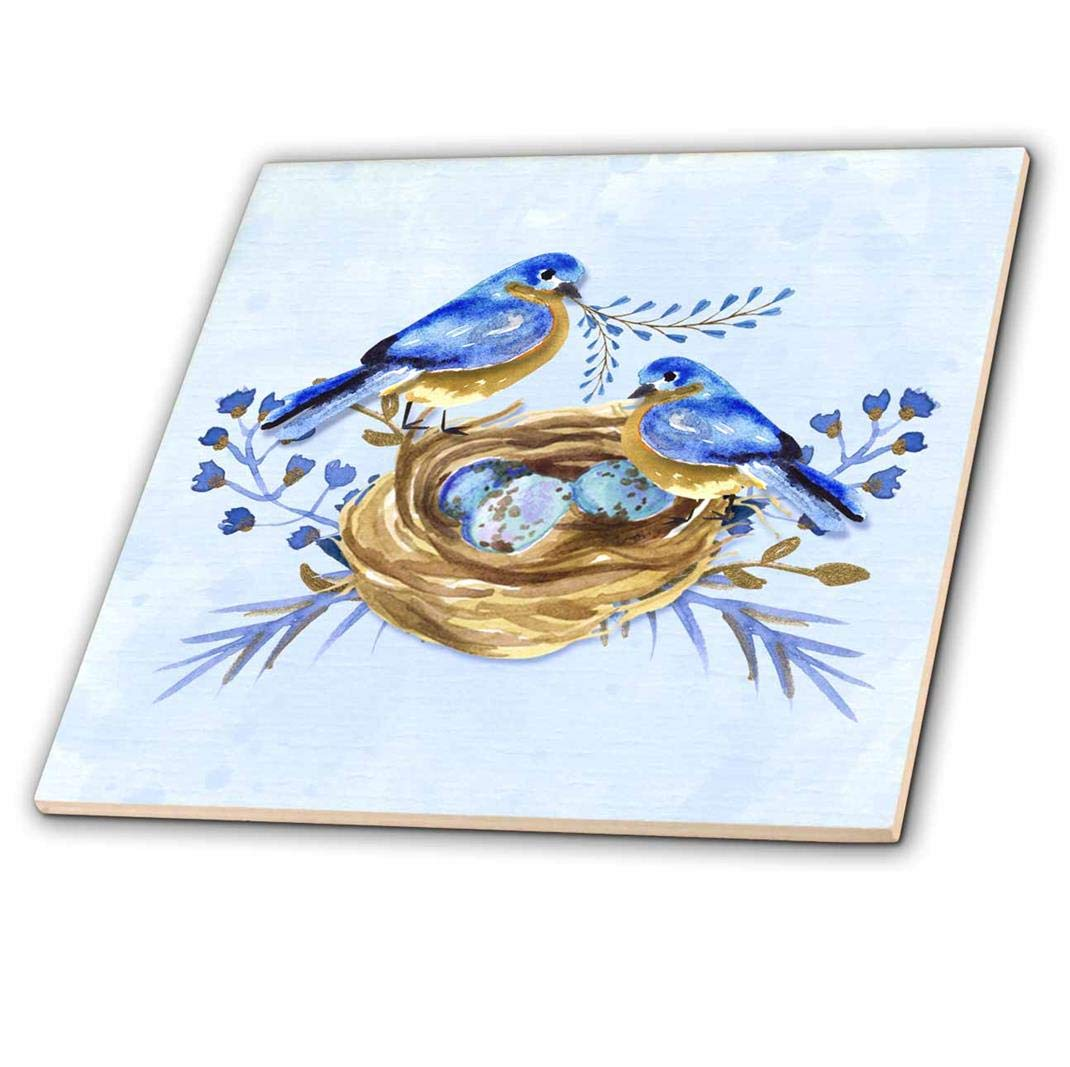 Ceramic Tile 4-inch 3dRose Two Bluebirds with Nest and Eggs in Watercolor Hues of Blue and Brown ct/_251763/_1