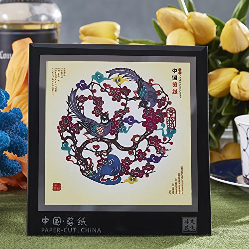 Chinese Paper Cutting Art, Displays Chinese Style of Decorative Ornaments for Crafts, Tourist Souvenirs Small Gift,6 x 5.5 Inches, Magpies & Plum Blossom