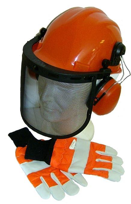 RocwooD - Casco de seguridad con visera y guantes grandes para trabajo con motosierra