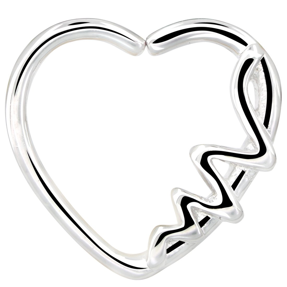 OUFER Body Piercing Jewellery Heart Shaped Waves Left Closure Daith Cartilag Tragus Helix Earring 16Gauge HCART006-1