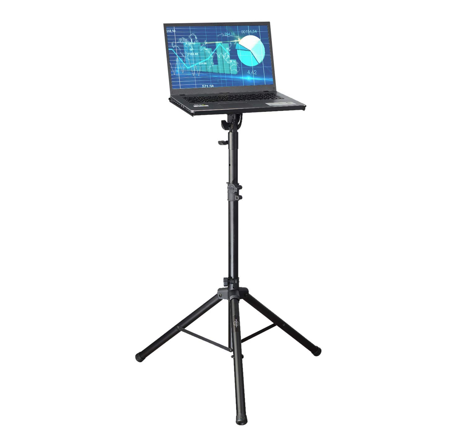 Professional Adjustable 32.3'' - 52'' Laptop DJ Mixer Tripod Stand | Lightweight & Portable 15.3'' x 12.2'' Tilted Tri-Pod Tray for Processors, Audio Controllers & Tablets | Raised Edges for Protection by STARUMENT