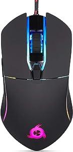 KLIM AIM Gaming Mouse - Wired Ergonomic Gamer USB Computer Mice, Chroma RGB Mouse [7000 DPI] [Programmable Buttons] Ambidextrous, Ergonomic for Desktop PC Laptop, High Precision Optical Black