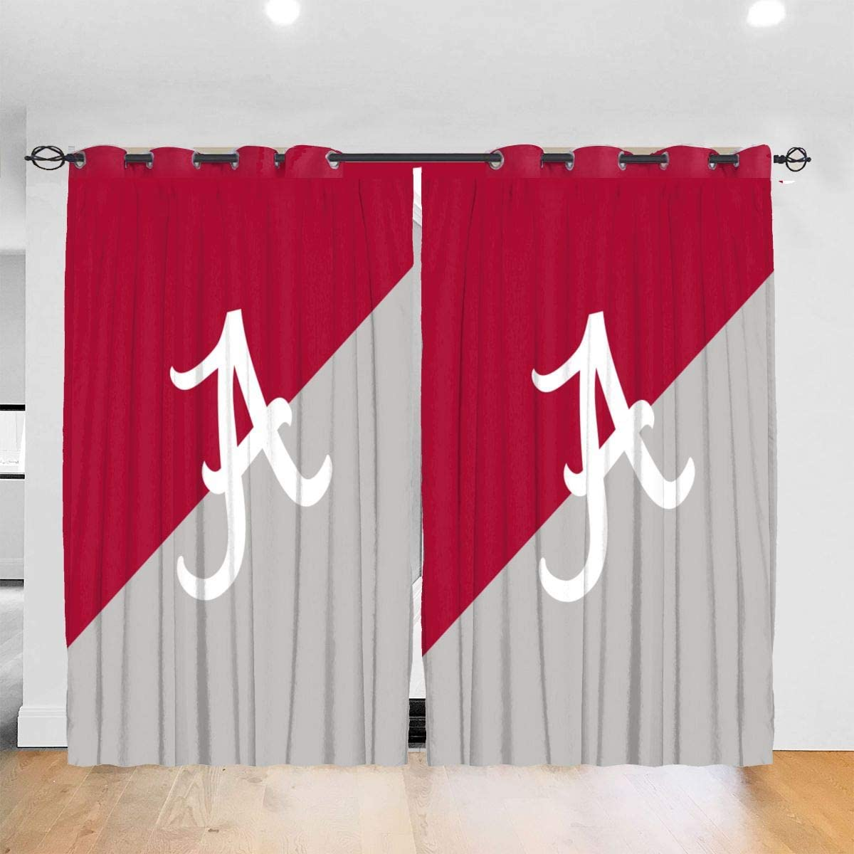 VF LSG Alabama Crimson Tide Colleage Team Blackout Curtains are Used in Bedrooms and Living Rooms, Noise-Proof Thermal Insulation Curtains 52 X 72 in