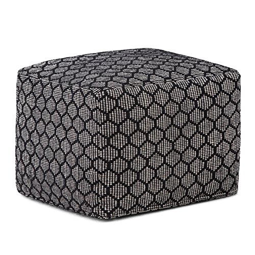 Simpli Home Simpson Square Pouf, Patterned Black and Natural by Simpli Home