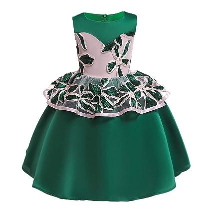 WUSIKY Baby Mädchen Sommerkleid, Floral Baby Mädchen Prinzessin Brautjungfer Pageant Kleid Geburtstag Party Hochzeit Kleid Mi
