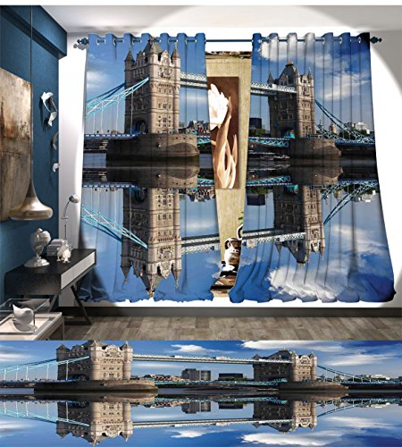 Mannwarehouse London Room Darkening Wide Curtains Tower Bridge With City Cruise in Summer Day Mirroring on Tranquil Thames River Decor Curtains By Taupe and Blue ()