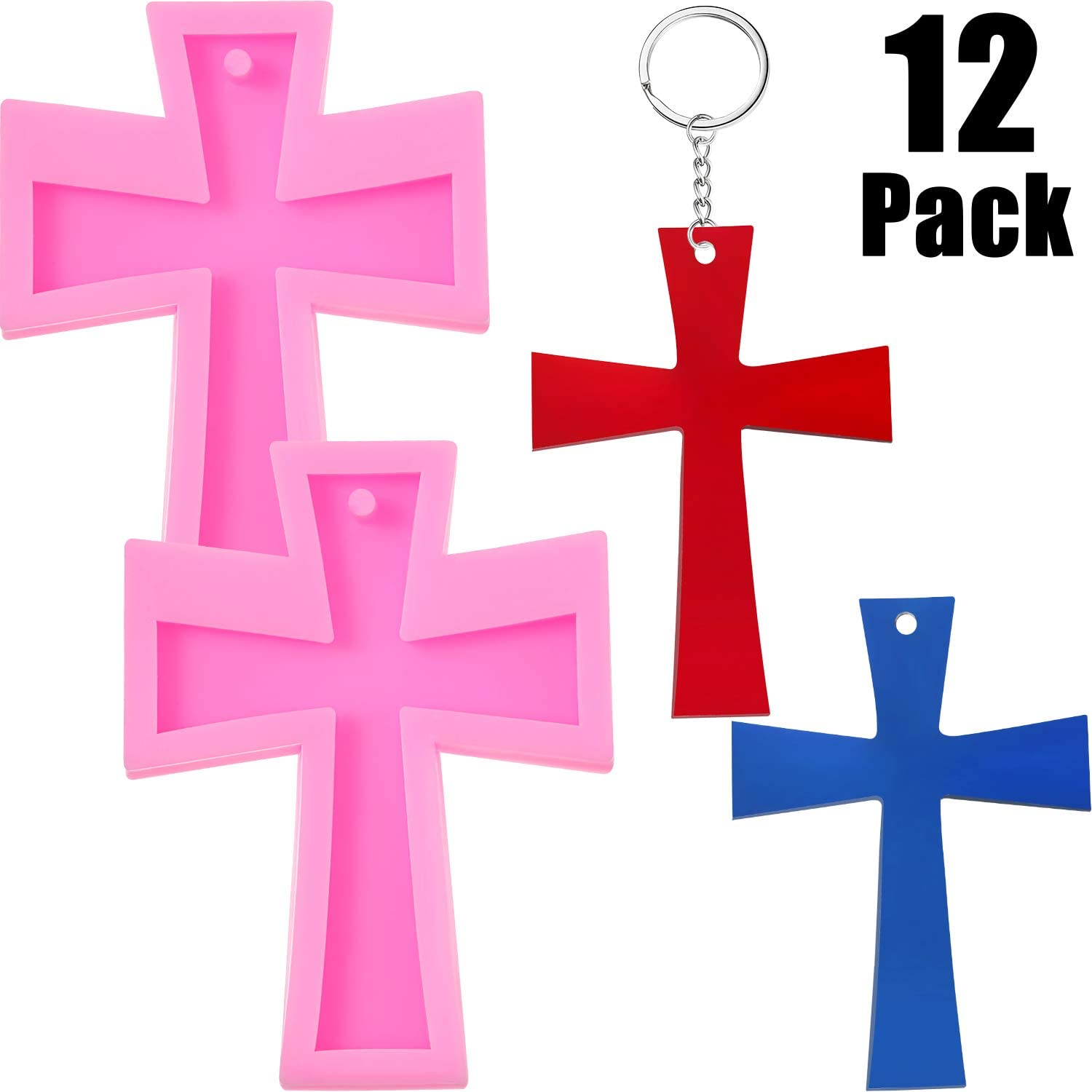 2 Pieces Cross Shape Silicone Mold Cross Shape Keychain Mold with Round Hole, DIY Silicone Baking Mold with 10 Pieces Key Rings for Making Keychains, Cake, Chocolate, Candy, Dessert
