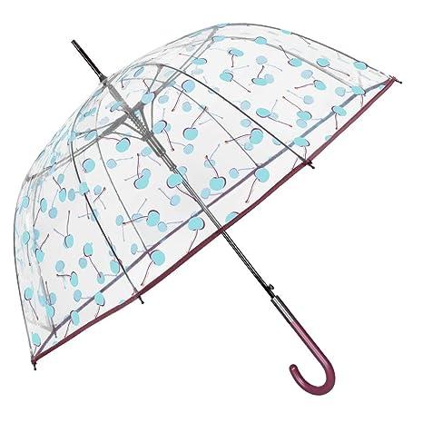 Paraguas Transparente Burbuja Cerezas Mujer - Paraguas Largo Cupula - Mango y Ribete Color Granate -