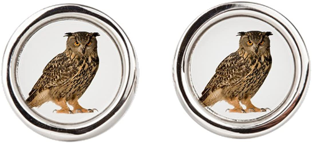 Round Great Horned Owl Royal Lion Cufflinks