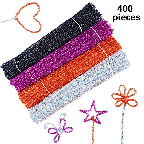 400 Pieces Craft Pipe Cleaners Glitter Chenille Stems Creative Arts Chenille Stems for DIY Craft Halloween Decoration, 12 Inches (Black, Purple, Bronze, Silver) ()