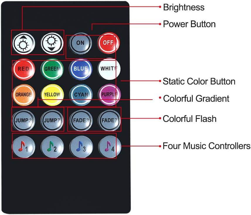 4X9 LED 12V Alimentato da accendisigari VISLONE Luci LED Auto Interne 4 Modalit/à Musica Telecomando 4 Strisce 36 Lampadine Multicolore Impermeabili LED Luce Atmosfera