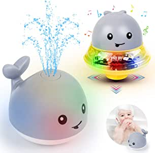 Baby Bath Toys Light Up Bathtub Toys 2 in 1 Automatic Induction Water Spray Toy & Space UFO Car Toys with Light Musical Bath Toy for Kids Toddlers (Gray)