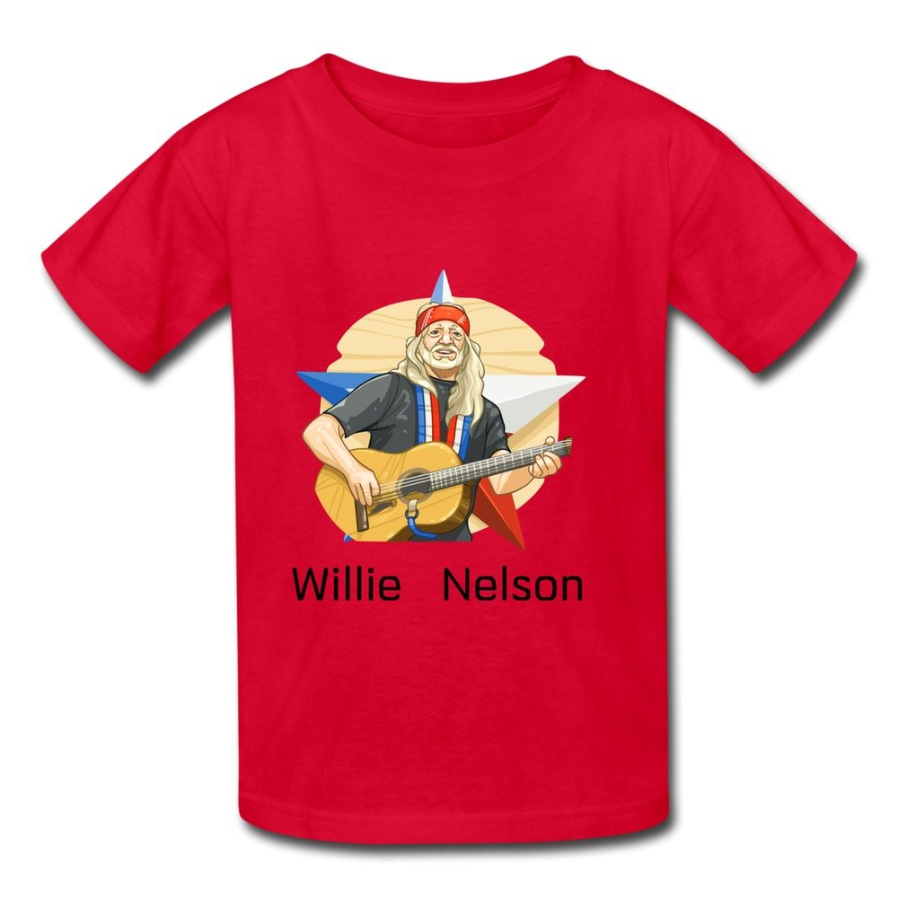 d156ea64 Amazon.com: Youth Love 100% Cotton Willie Nelson T-Shirt Red US Size ...