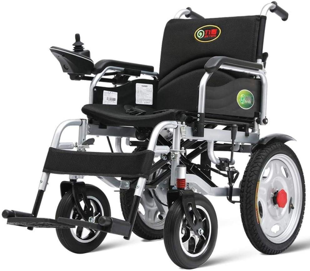 Cynyy Adecuada para Ancianos/Discapacitados Sillas De Ruedas Eléctricas Ligero Opcion al Doble Mano Izquierda Reclinable Completo Anciano Discapacitado Scooter Plegable Batería De Plomo Ácido Básica