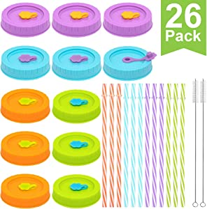 REGULAR Mouth Mason Jar Lids for Ball, Kerr, etc with Straw Hole/Straws/Silicone Stoppers/Rings/Clean Brush, BPA Free Colored Plastic Canning Jar Drinking Lids & Food Storage Caps 26 Pack