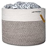 Goodpick Large Cotton Rope Basket 15.8''x15.8''x13.8''-Baby Laundry Basket Woven Blanket Basket Nursery Bin