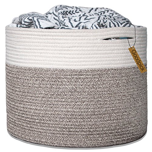 Goodpick Large Cotton Rope Basket 15.8''x15.8''x13.8''-Baby Laundry Basket Woven Blanket Basket Nursery Bin by Goodpick
