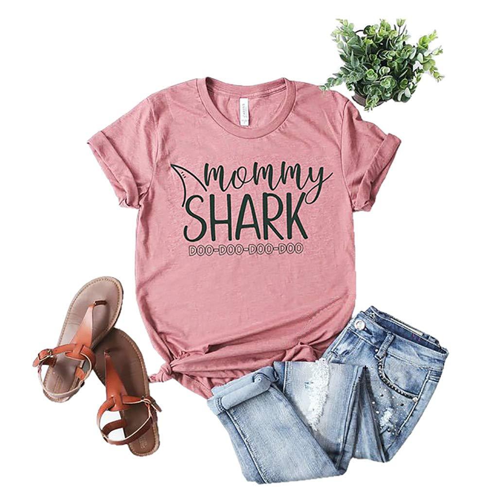 xiangliood Cute Mommy Shark Doo Doo Graphic Short Sleeve T Shirt Tee Gift for Mom Mother