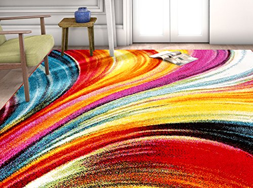 When decorating with rugs, you must also take into consideration the pattern. You want the pattern of the rug to match up with the wallpaper and even your furniture. #homeimprovementHomeWay Wavy 7'10