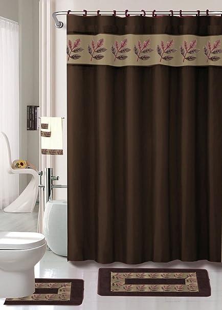 18 piezas juego de para cuarto de baño de desplazamiento marrón ...
