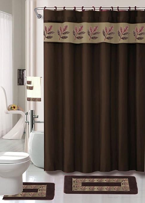 18 piezas Juego de alfombra de baño Scroll café marrón cortina de ducha de baño/